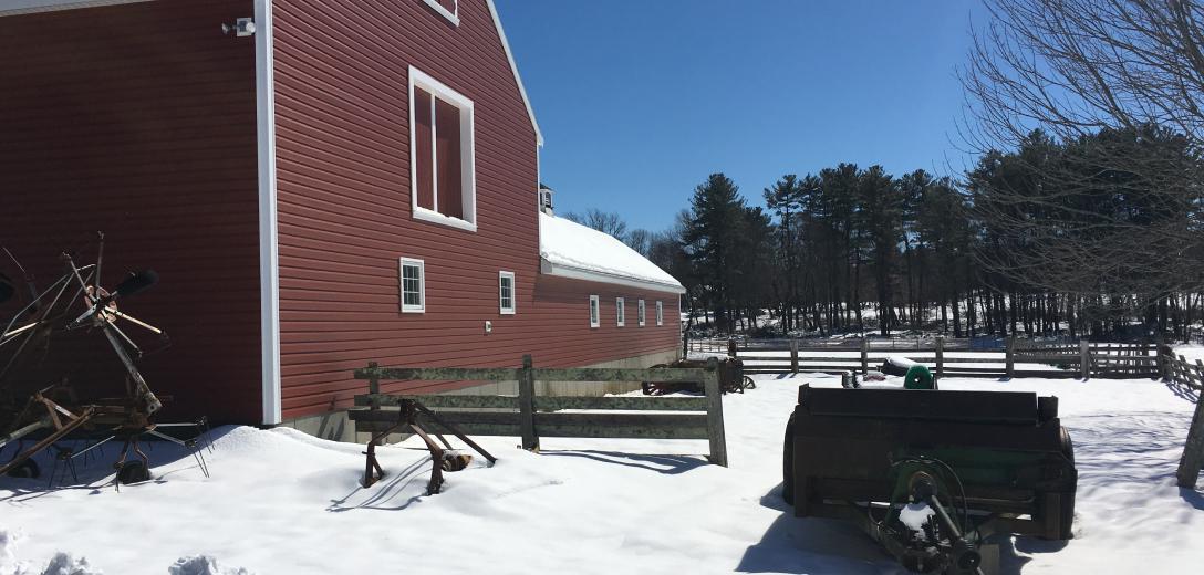 Snow covered farm.